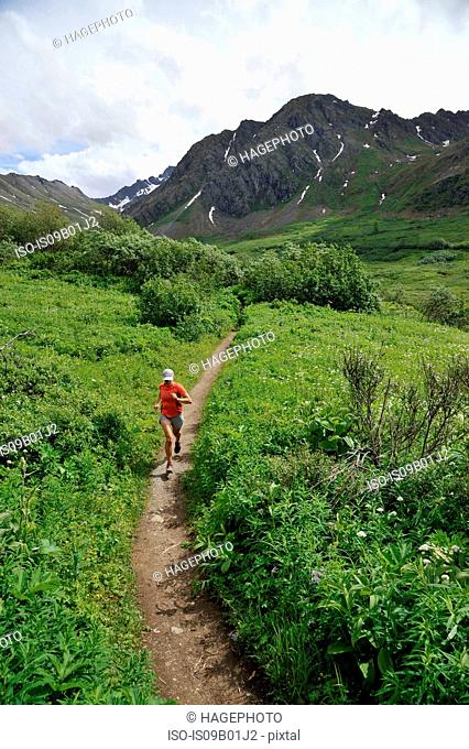Woman running the Gold Mint Trail, Talkeetna Mountains near Hatcher Pass, Alaska, USA