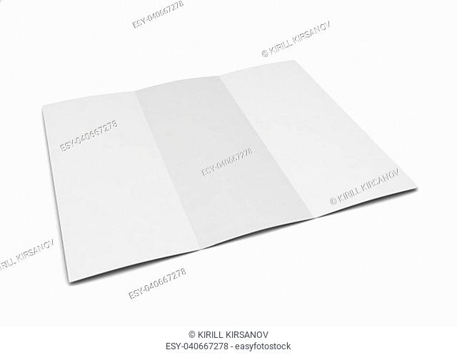 Blank trifold. 3d illustration isolated on white background