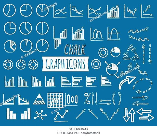Business and office charts. Chal edition. Set of thin line graph icons. Outline. Can be used as elements in infographics, logo, in projects