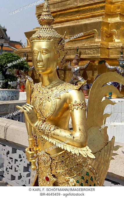 Gold plated statue Theppaksi, mythical Buddhist figure, half woman, half bird, Wat Phra Kaeo, Ko Ratanakosin, Bangkok, Thailand