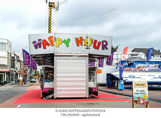 Tilburg, Netherlands. Closed carnival attraction on the annual fairground before opening of the day