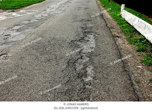 Pothole on a route in Belgium