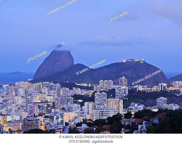 Brazil, City of Rio de Janeiro, Pereira da Silva, Twilight view over Laranjeiras towards the Sugarloaf Mountain