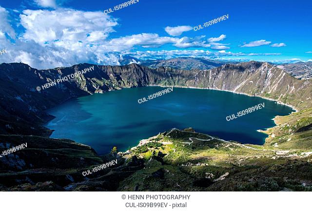 Quilotoa is a water-filled caldera on 4.200m altitude and the most western volcano in the Ecuadorian Andes close to Cotopaxi, Chucchilán, Cotopaxi, Ecuador