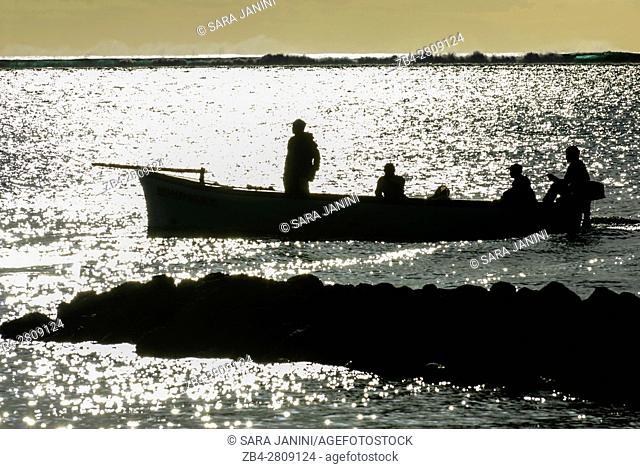 Fishermen boat, Paradis Hotel & Golf Club, Mauritius, Indian Ocean, Africa
