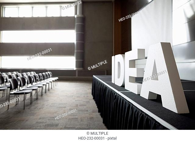 Empty auditorium with Idea letters on stage