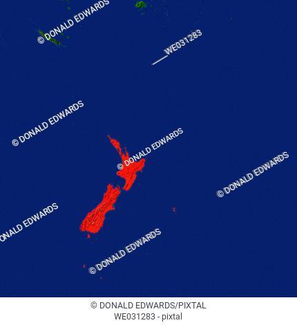 Highlighted satellite image of New Zealand