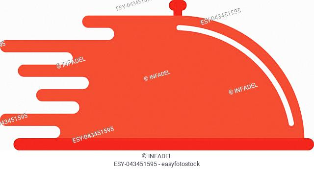 red dish like food delivery. concept of cooking, waiter, quick service, send goods, logistic, catering. isolated on white background