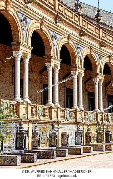 Spanish pavilion, Plaza de Espana, Seville, Andalusia, Spain, Europe