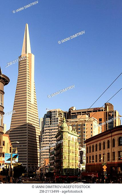 Transamerica Pyramid and Columbus Tower,San Francisco,California,USA