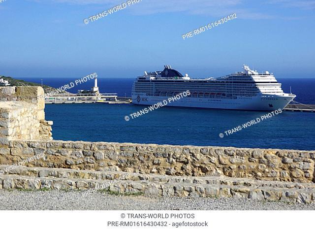 """MSC Orchestra"" in the port of Ibiza city, Ibiza, Spain / ""MSC Orchestra"" im Hafen von Ibiza-Stadt, Ibiza, Spanien"