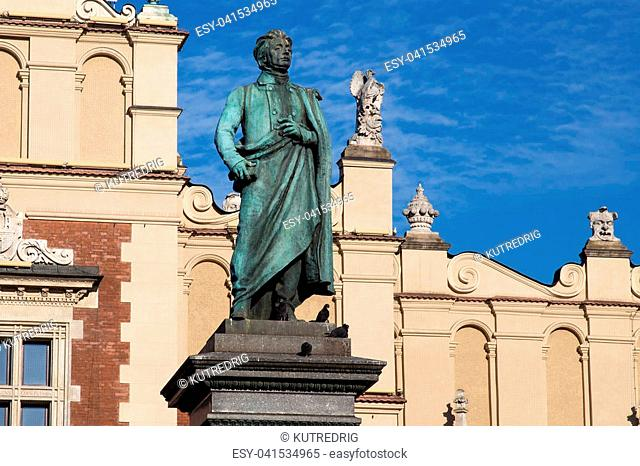 Adam Mickiewicz Monument in Krakow. Is one of the best known bronze monuments in Poland. The statue of Adam Mickiewicz, the greatest Polish Romantic poet of the...
