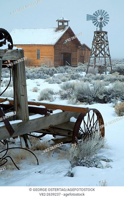 Saint Bridget Catholic Church with wagon, Fort Rock Homestead Village, Christmas Valley National Back Country Byway, Oregon