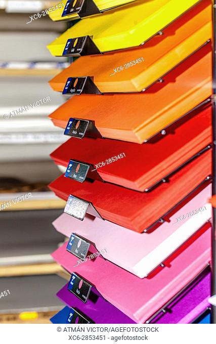 stack of colour cardboards