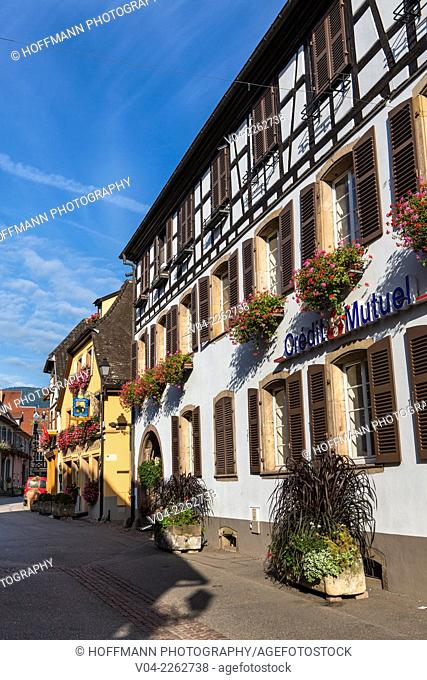 Picturesque timbered houses in Eguisheim, Alsace, France, Europe