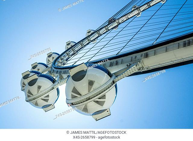 The 520-foot diameter High Roller is the world's largest observation wheel and a dominant landmark in Las Vegas
