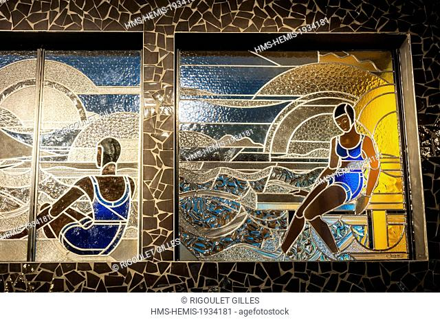 France, Paris, Hotel Molitor swimming pool, opening in May 2014, listed as historical monument, Art Deco, stained glass workshops Louis barrellet