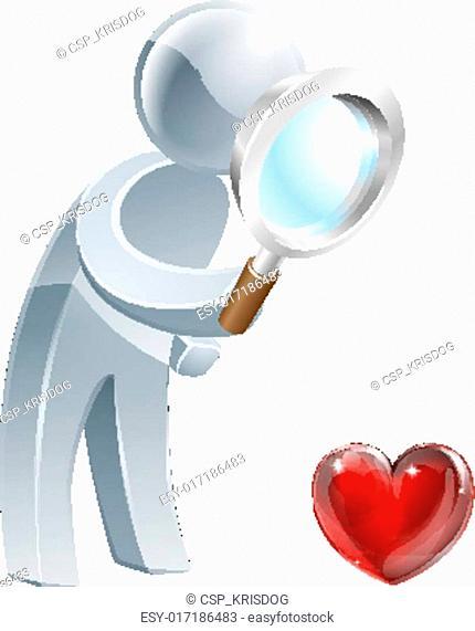 Heart magnifying glass man