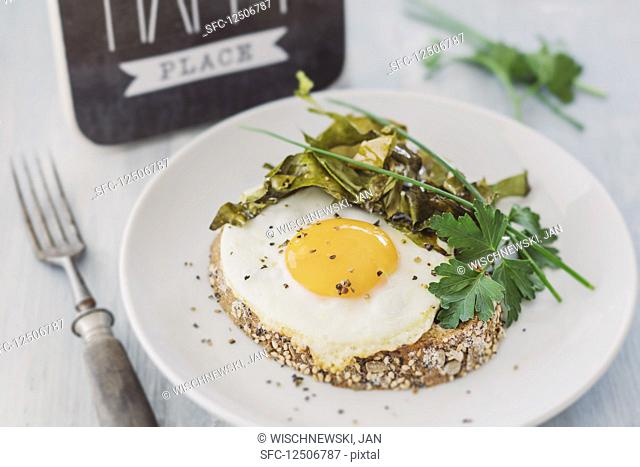 Fried egg with algae bacon on a slice of toast