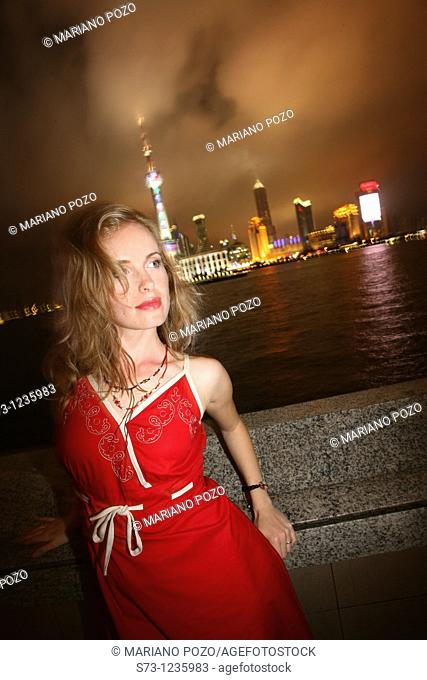 27 year old woman poses in Shanghai. China