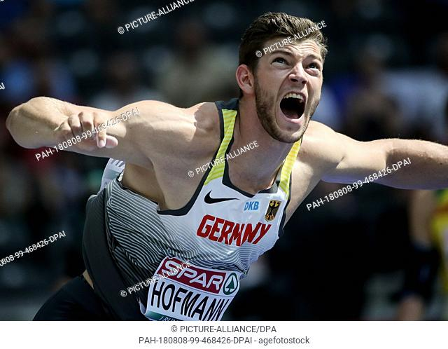08.08.2018, Berlin: Athletics: European Championships in the Olympic Stadium: Javelin Throw Qualification, Men: Andreas Hofmann from Germany screams for his...