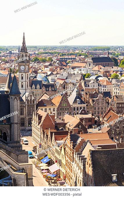 Belgium, Ghent, old town, cityscape with guild houses and belfry of the old post office