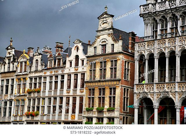 Guild houses on Grote Markt square, Grand Place square, Brussels, Belgium, Europe
