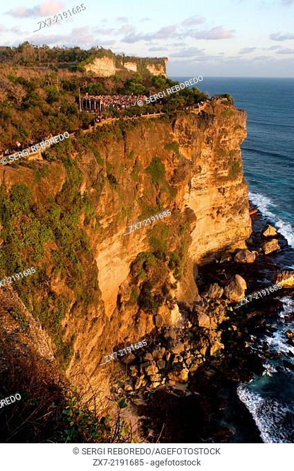 Cliffs next to the Ulu Watu temple Pura Luhur. Bali. Uluwatu Temple is a Hindu temple set on the cliff bank in south part of Bali Peninsula