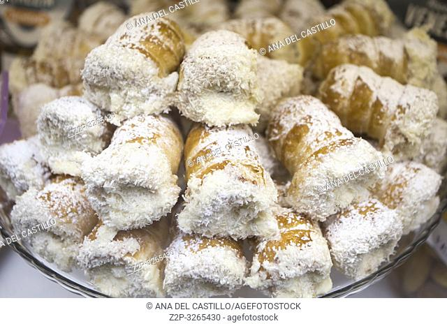 Cannoncini pastries at bakery Venice Italy