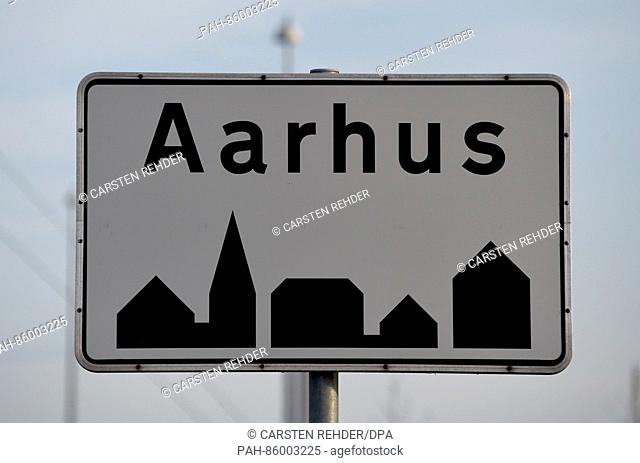 The city-limits sign of Aarhus,Denmark, 23 November 2016. The second-largest city of Denmark has been named the 2017 European Capital of Culture