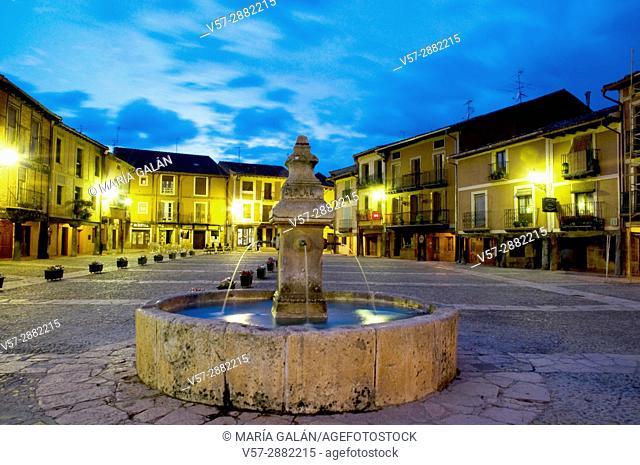 Main Square at night. Ayllon. Segovia province. Castile Leon. Spain