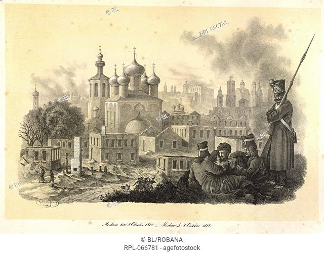 Moscow in October, 1812, French soldiers of Napoleon's Grand Armee, occupying Moscow in October, after it has been set alight