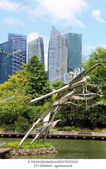Singapore, Gardens by the Bay, Dragonfly Lake, skyline,