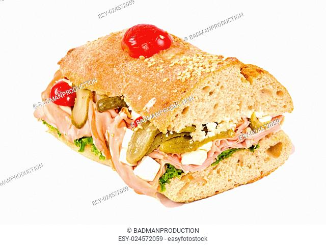 Half of sandwich isolated on white