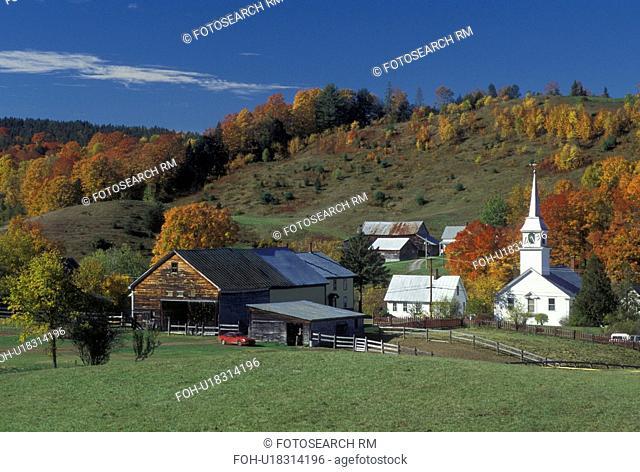 fall, village, church, East Corinth, VT, Vermont, Scenic view of the village of East Corinth in the autumn