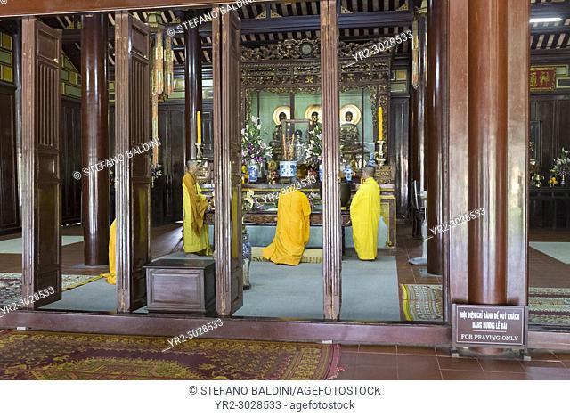 Buddhist monks at Thien Mu Pagoda, Hue, Vietnam
