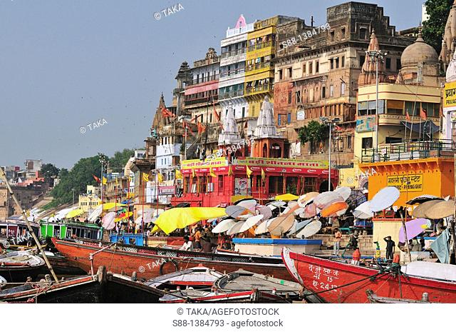 View of the ghat by the Ganges river