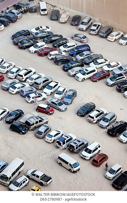 UAE, Dubai, Dubai Marina, elevated view of parking lot