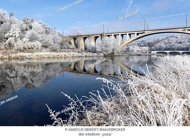 Bridge over Fulda, trees with hoarfrost, Guxhagen, North Hesse, Hesse, Germany
