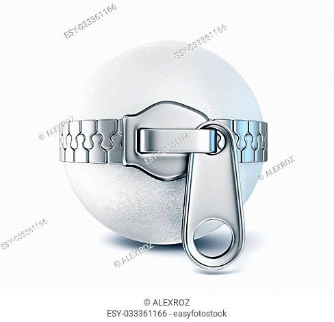 zipper around sphere isolated on a white background