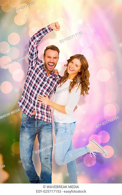 Composite image of young couple embracing and posing