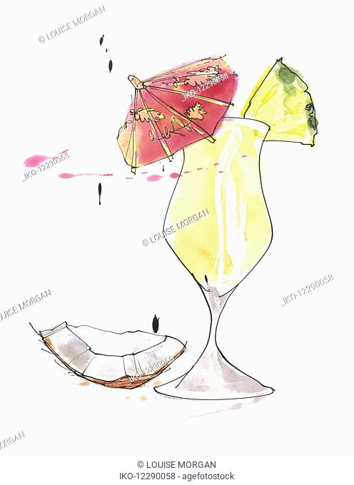 Watercolour painting of pina colada cocktail