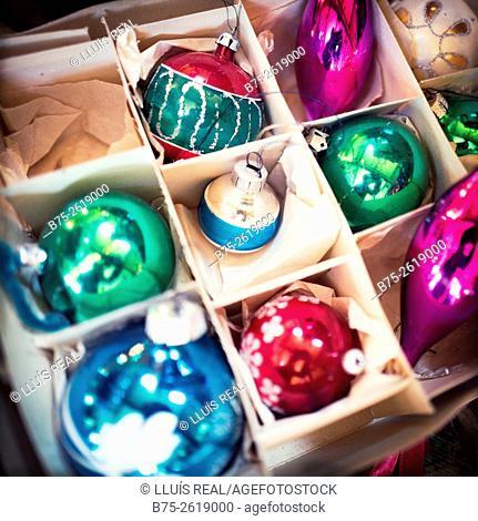 Close-up of a box of vintage christmas decoration. Skipton, Yorkshire, England,  United Kingdom, Europe
