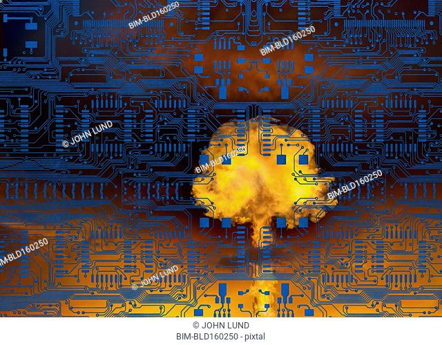 Nuclear explosion under layer of circuit board