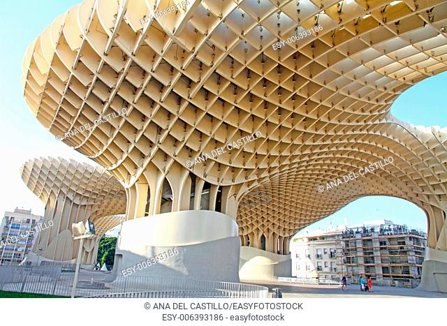 SEVILLE, SPAIN: The Metropol Parasol in Seville, Spain, by Jurgen Mayer H. Architects, is the world's largest wooden structure, nicknamed 'The Mushrooms'