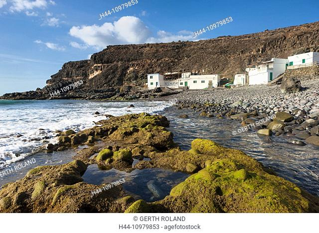 El Puertito de los Molinos, Spain, Europe, Canary islands, Fuerteventura, coast, houses, homes, restaurant, rock, cliff, stones