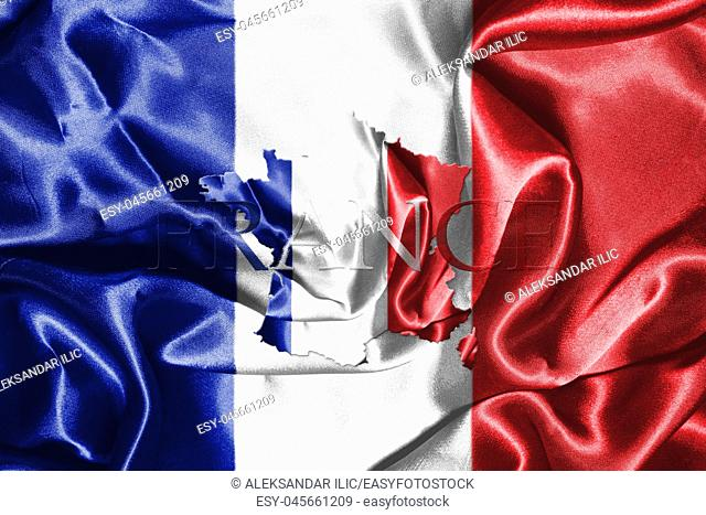 National Flag Of France Waving in the Wind With French Map And Country Name On It 3D illustration