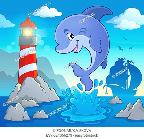 Jumping dolphin theme image 2 - picture illustration