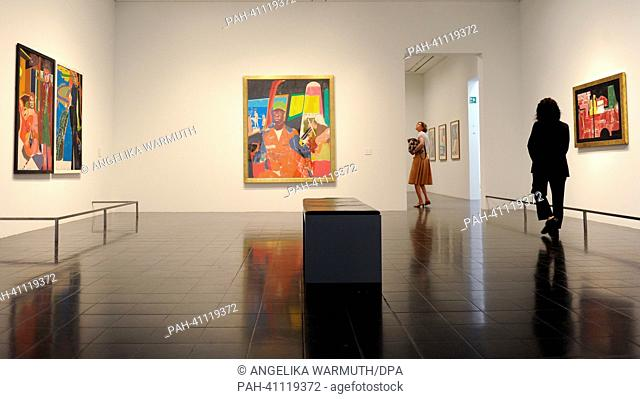 Jounalist visit the exhibition 'R. B. Kitaj. Die Retrospektive' at the Kunsthalle in Hamburg, Germany, 18 July 2013. The first big retrospective about the...