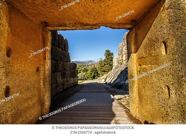 Under the Lions Gate, 13th century BC, the main entrance to the palace of the ancient city of Mycenae. Argolis, Peloponnese, Greece
